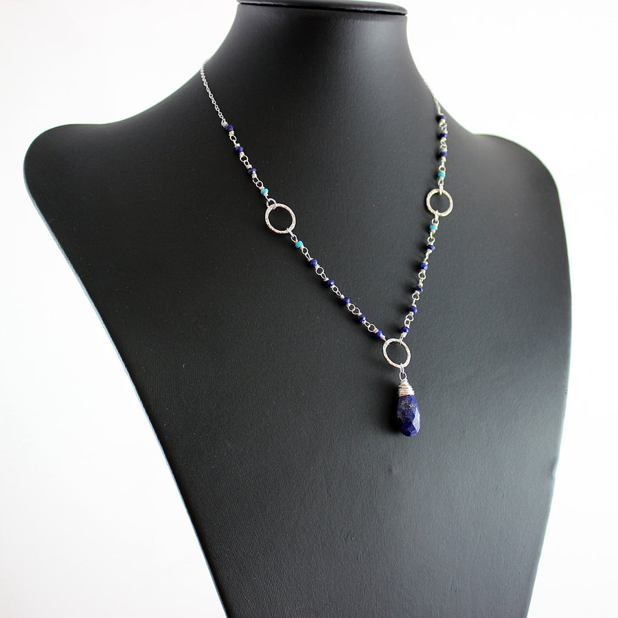 Lapis and Turquoise Sterling Silver Necklace - As Worn on The Vampire Diaries