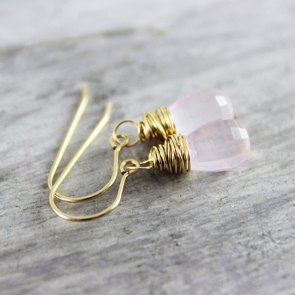 Pink Rose Quartz Gold Drop Earrings