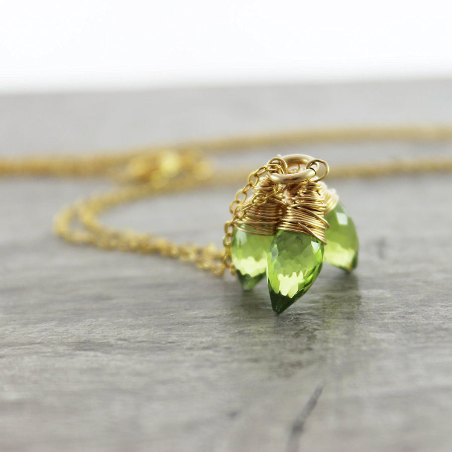 Peridot Gemstone Gold Necklace - As Worn on Days of our Lives