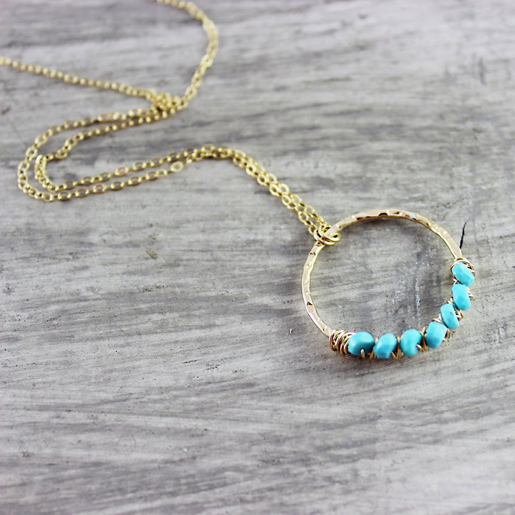 Turquoise Stone Gold Fill Pendant Necklace