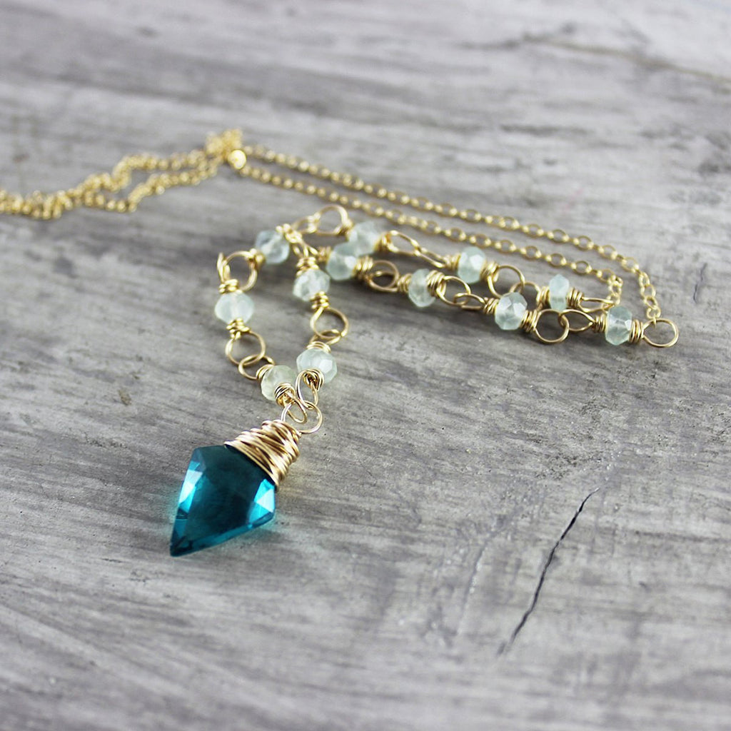 Bright Teal Gold Beaded Necklace
