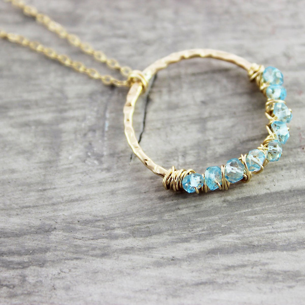 Sky Blue Topaz Gold Filled Necklace
