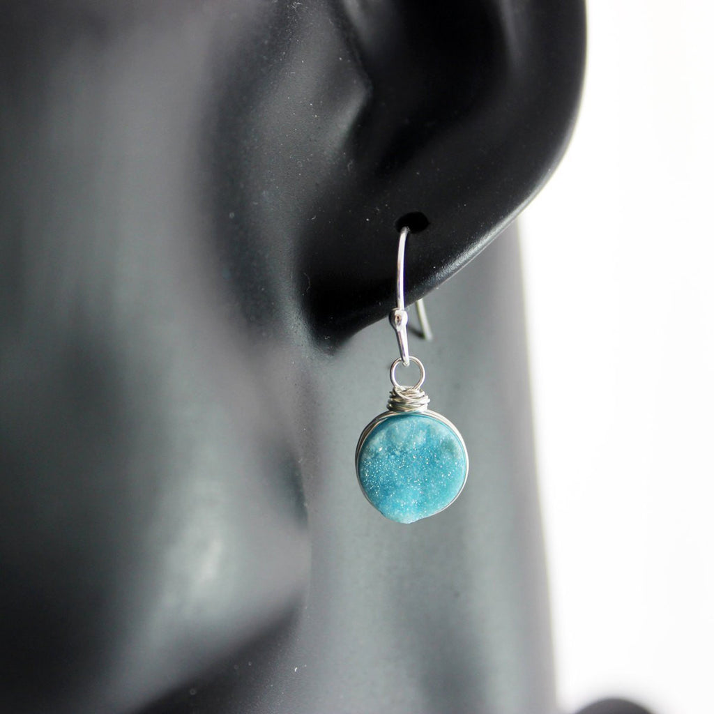 Light Sky Blue Druzy Sterling Silver Earrings