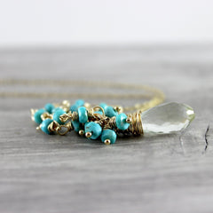 Green Amethyst and Turquoise Gold Gemstone Necklace