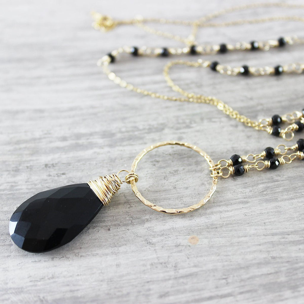Long Black Onyx Beaded Layering Necklace