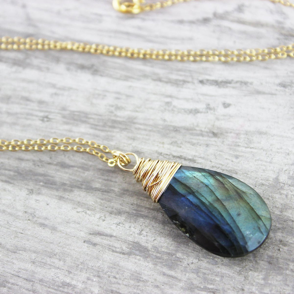 Labradorite Gemstone Pendant Gold Necklace