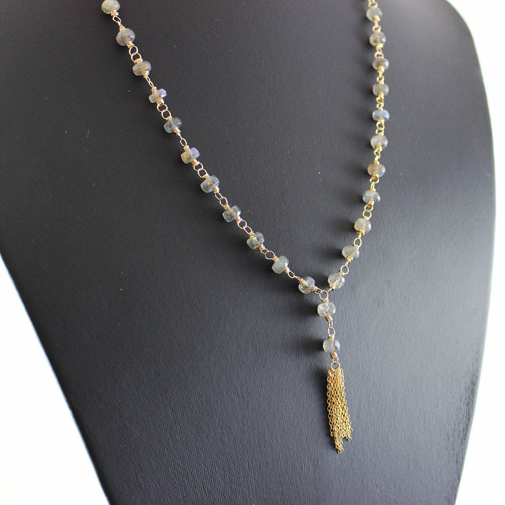 Labradorite Long Gold Tassel Necklace