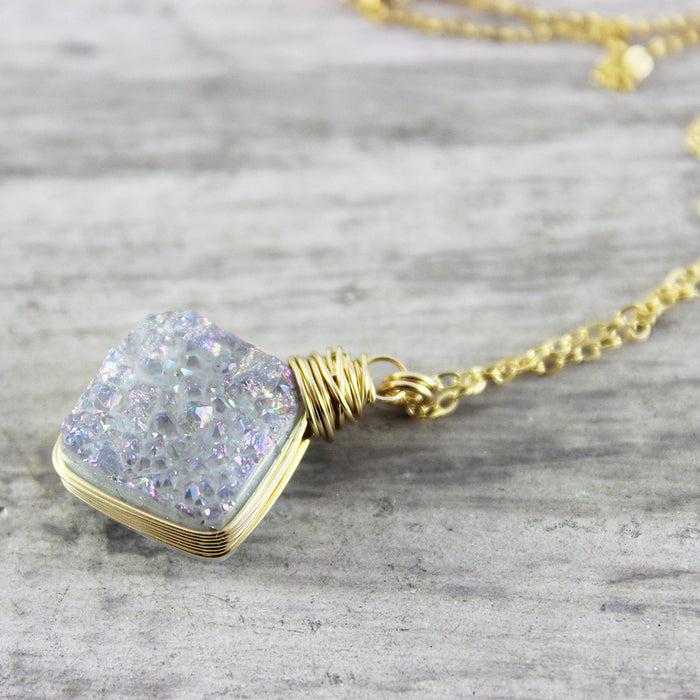 Rainbow Druzy Gold Pendant Necklace - As Worn on Stitchers