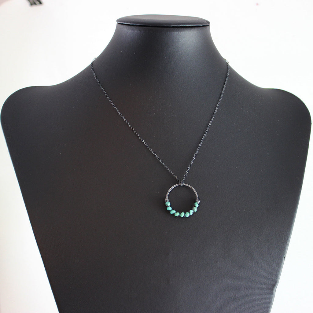 Blue Turquoise Oxidized Pendant Necklace