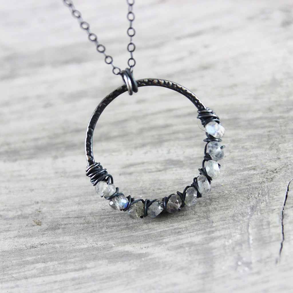 Black Oxidized Labradorite Circle Pendant Necklace