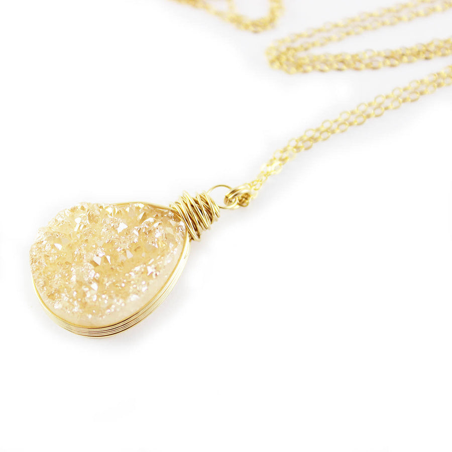 Peach Druzy Gold Filled Teardrop Necklace