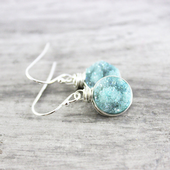 Turquoise Green Druzy Silver Circle Earrings