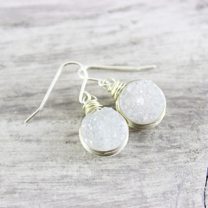 White Druzy Sterling Silver Circle Earrings