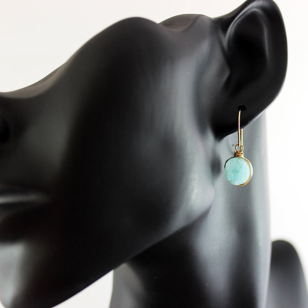 Sky Blue Druzy Gold Circle Earrings