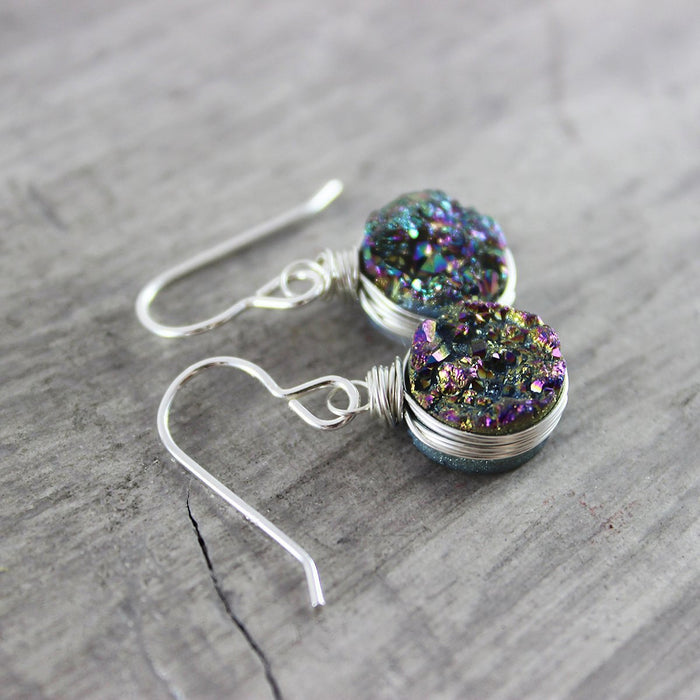 Rainbow Druzy Sterling Silver Circle Earrings