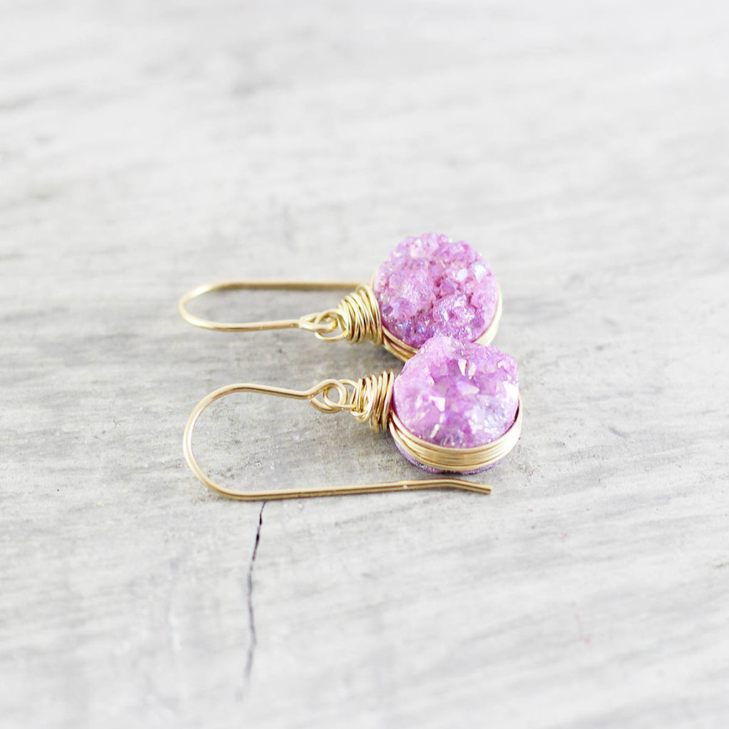 Fuchsia Pink Druzy Gold Circle Earrings