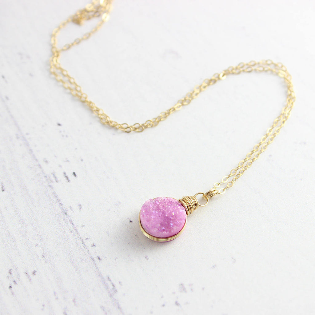 Pink Druzy Gold Circle Pendant Necklace