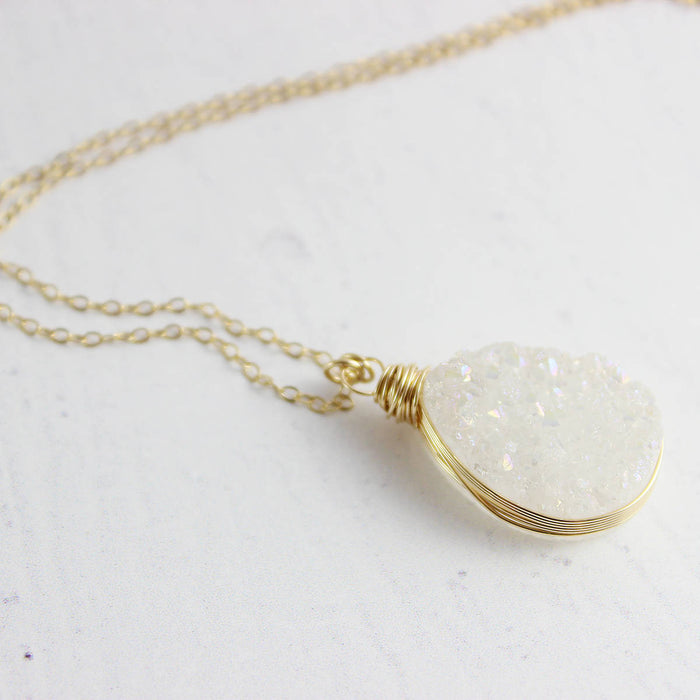 White Druzy Teardrop Gold Necklace