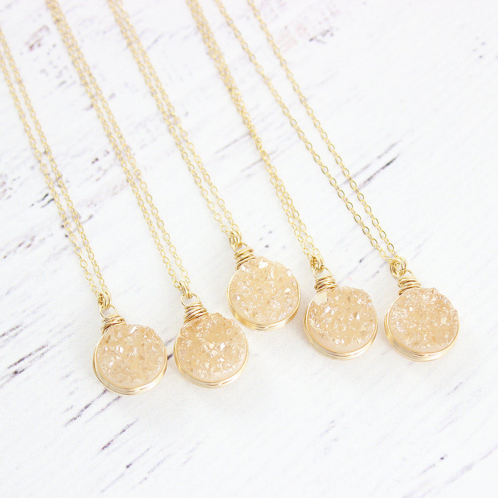 Champagne Druzy Gold Circle Necklace