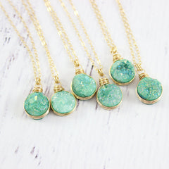 Turquoise Green Druzy Gold Circle Necklace