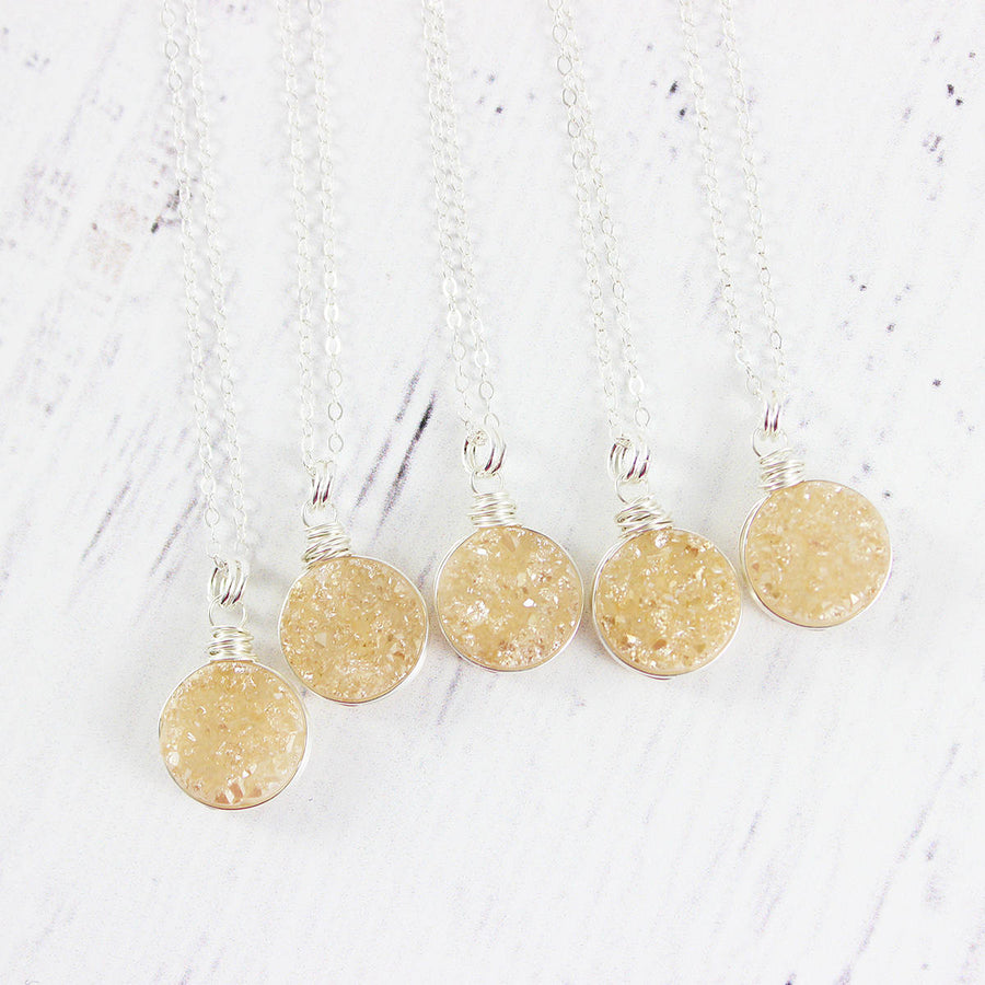Champagne Druzy Sterling Silver Circle Necklace