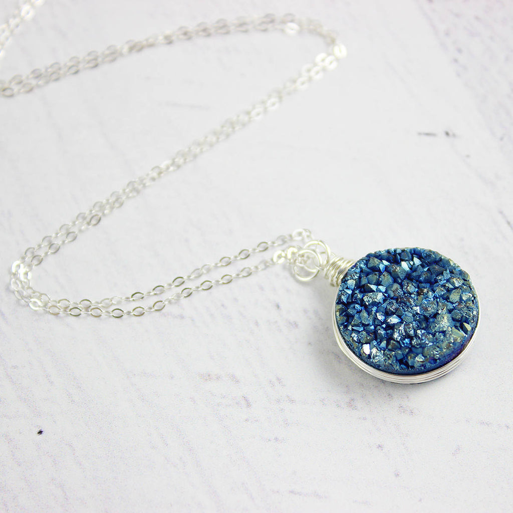 Large Druzy Geode Sterling Silver Necklace