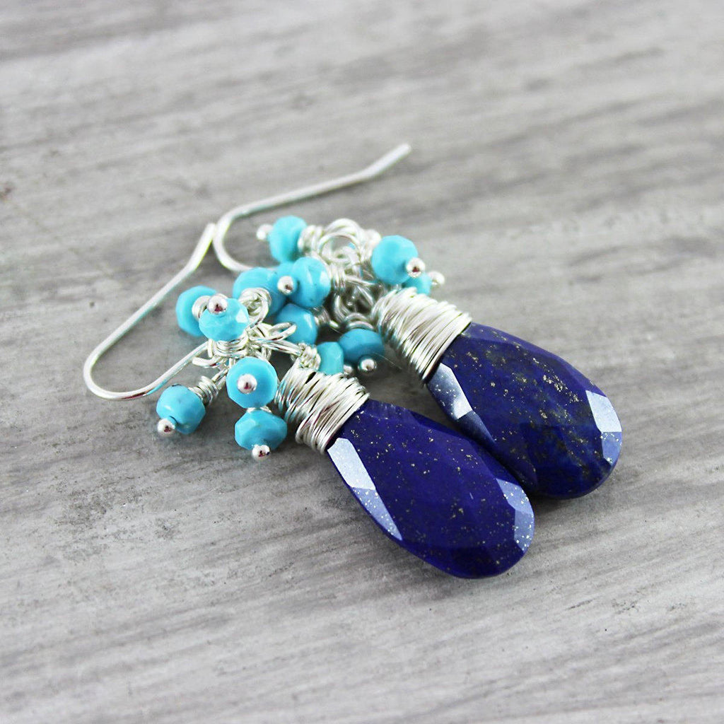 Blue Turquoise and Lapis Earrings