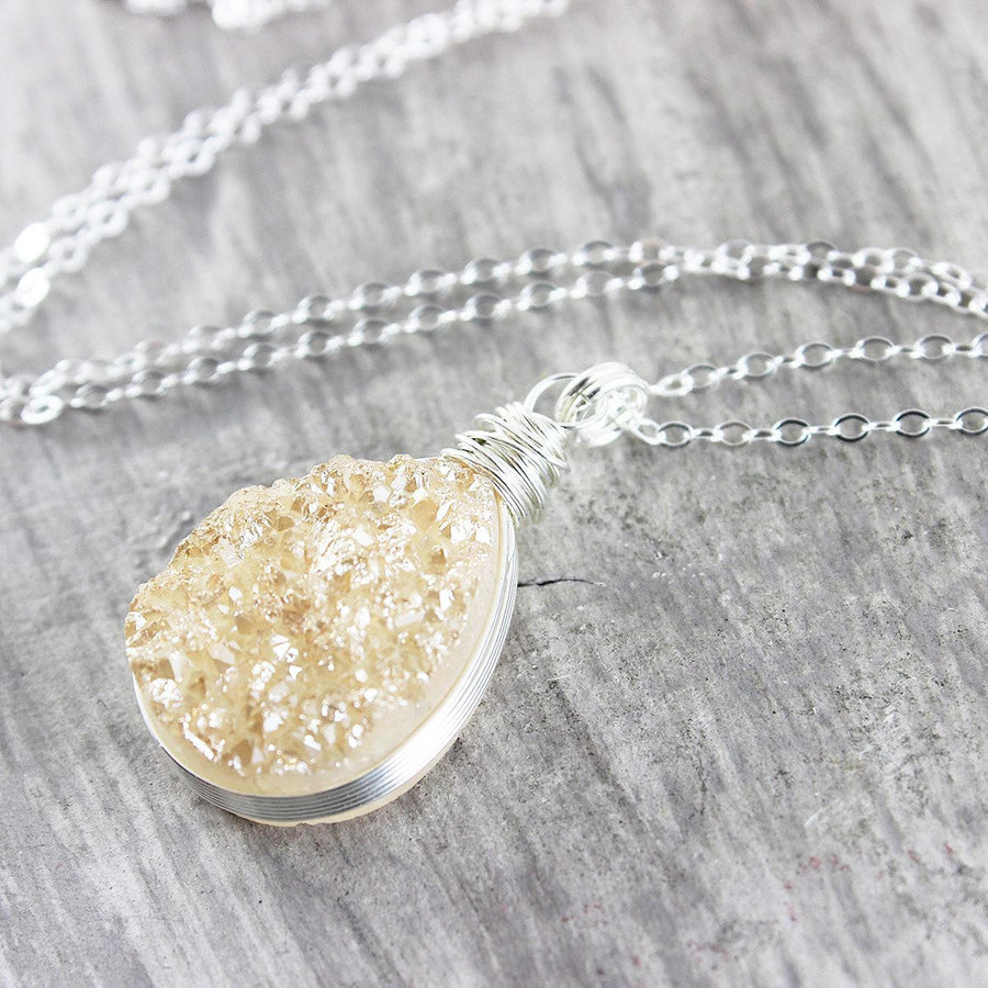 Peach Druzy Sterling Silver Teardrop Necklace