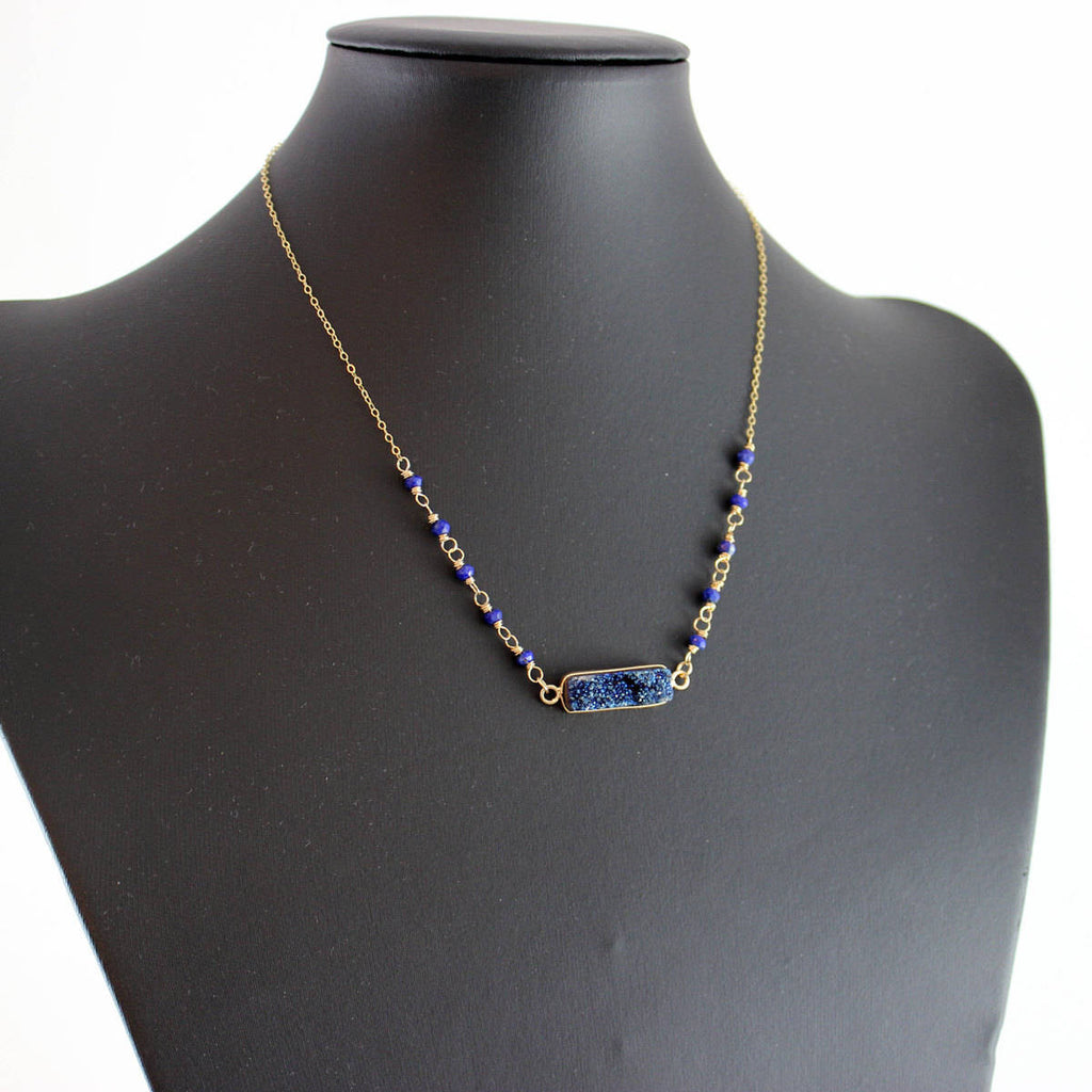 Dark Blue Druzy Bar Necklace - As Worn on Baby Daddy