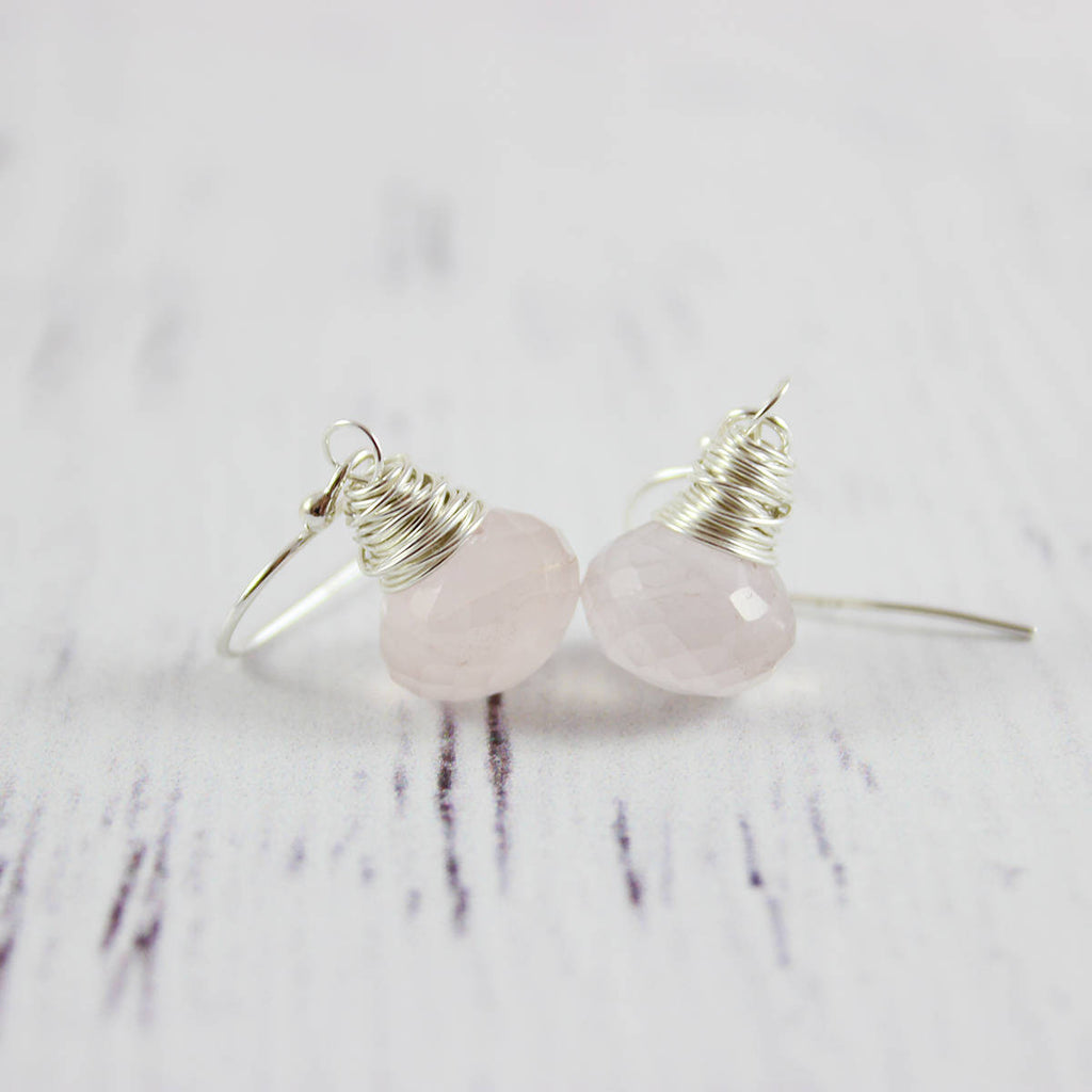 Pink Rose Quartz Sterling Silver Earrings