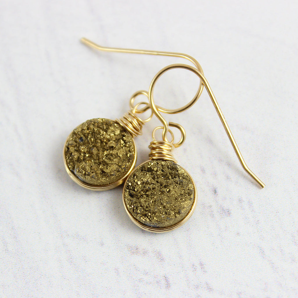 Druzy Geode Gold Circle Earrings