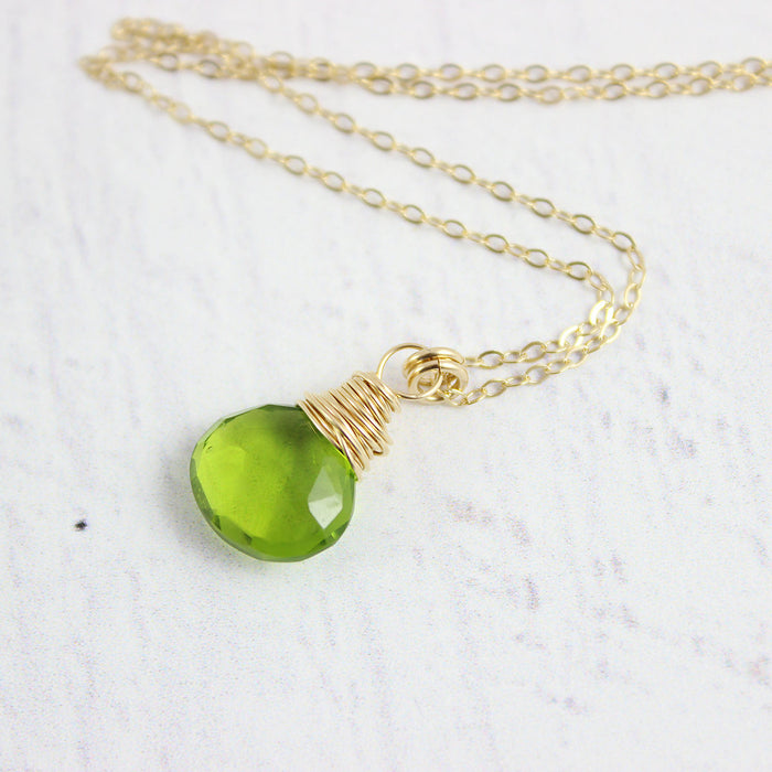 Bright Green Quartz Gemstone Necklace