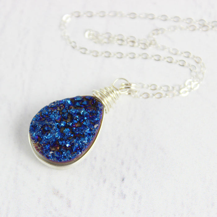 Dark Blue Druzy Teardrop Silver Necklace