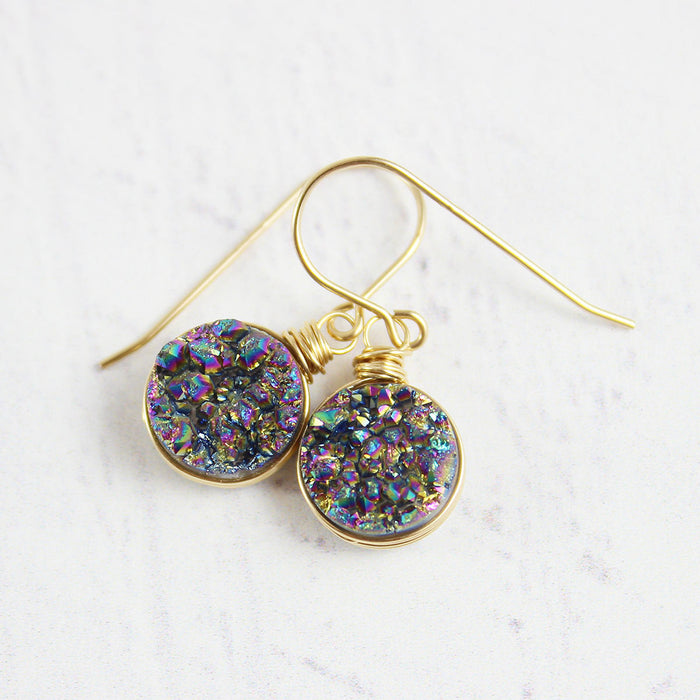 Rainbow Druzy Gold Circle Earrings