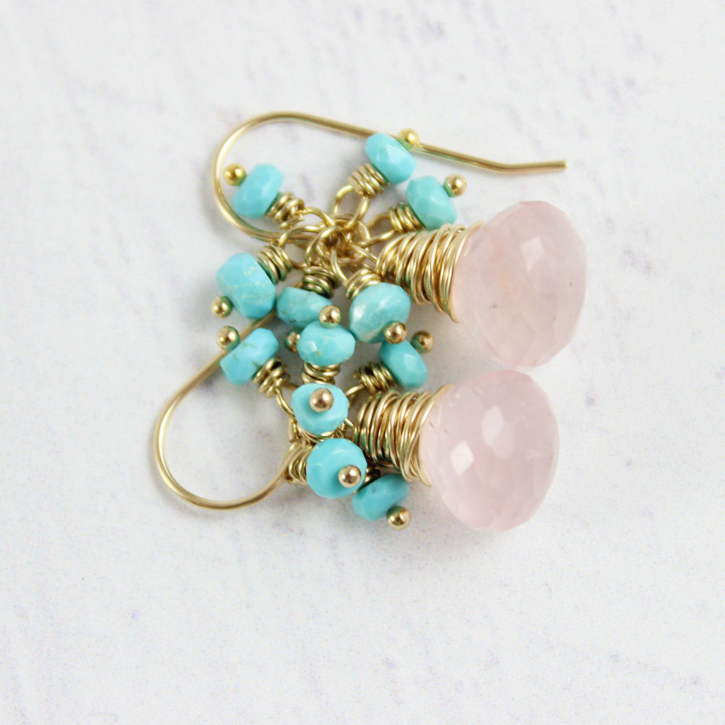 Rose Quartz and Turquoise Gold Earrings