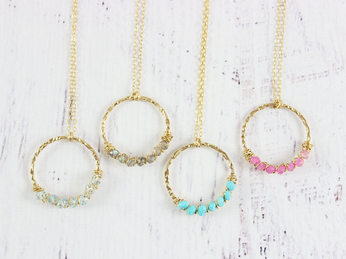 Gold Filled Gemstone Circle Pendant Necklaces