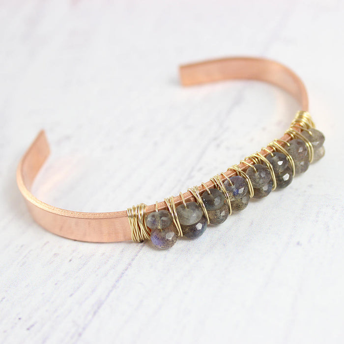 Labradorite Copper and Gold Cuff Bracelet
