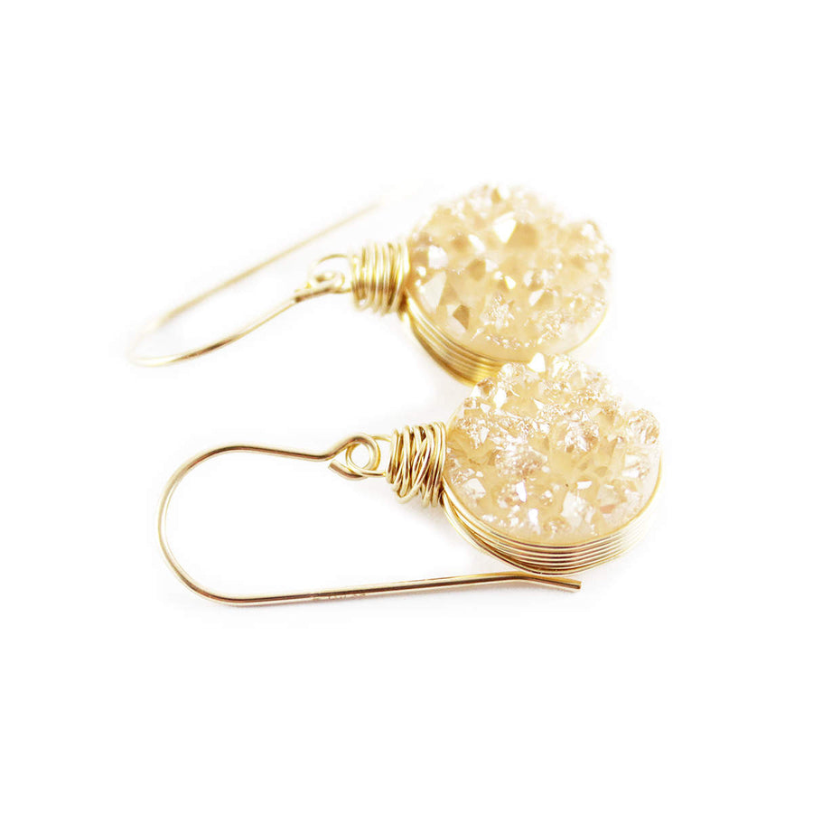 Champagne Druzy Gold Circle Earrings