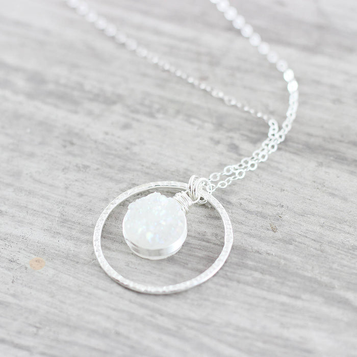 White Druzy Silver Bridal Necklace