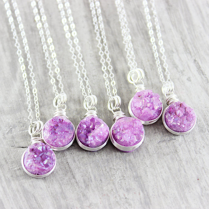 Fuchsia Druzy Sterling Silver Necklace