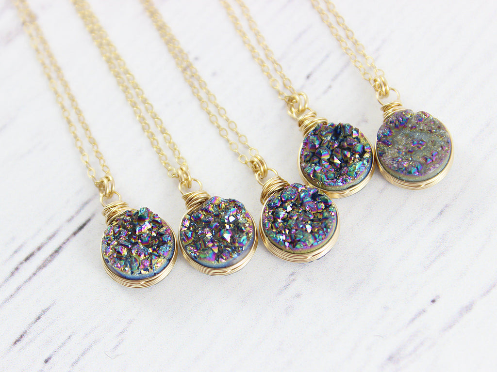 Rainbow Druzy Geode Gold Circle Necklace