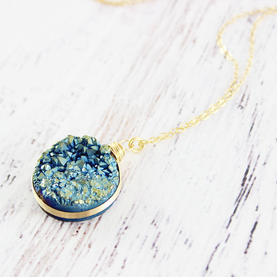 Blue Green Druzy Gold Pendant Necklace