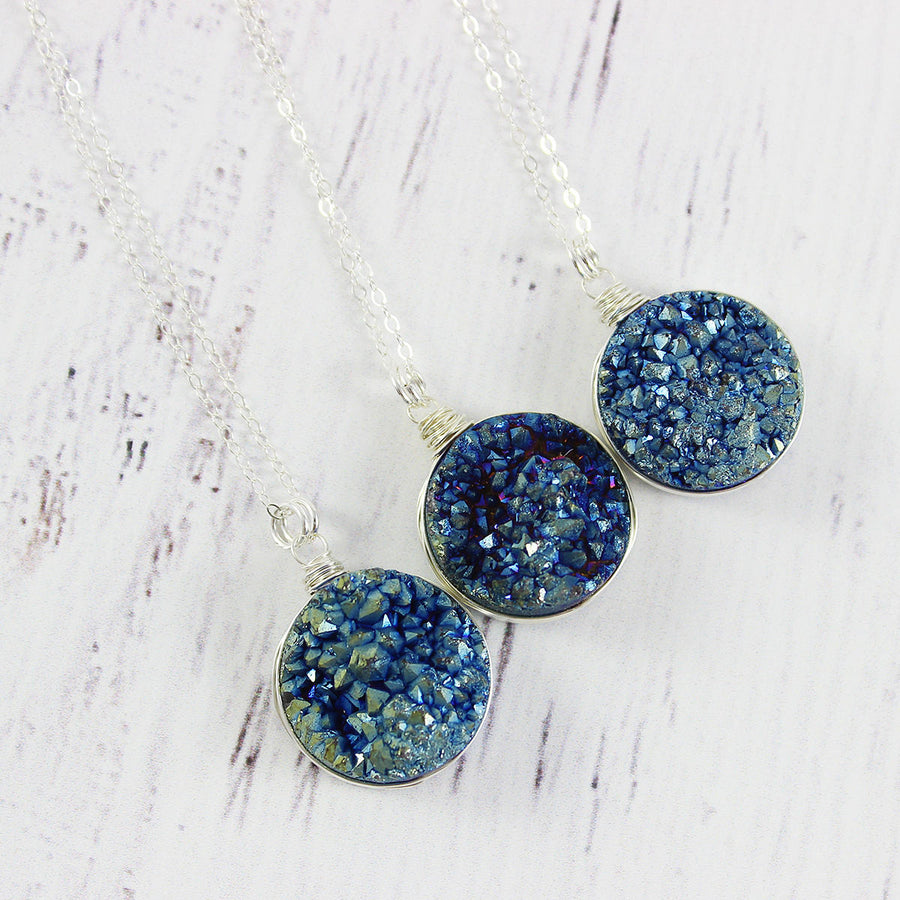 Blue Green Large Druzy Sterling Silver Necklace