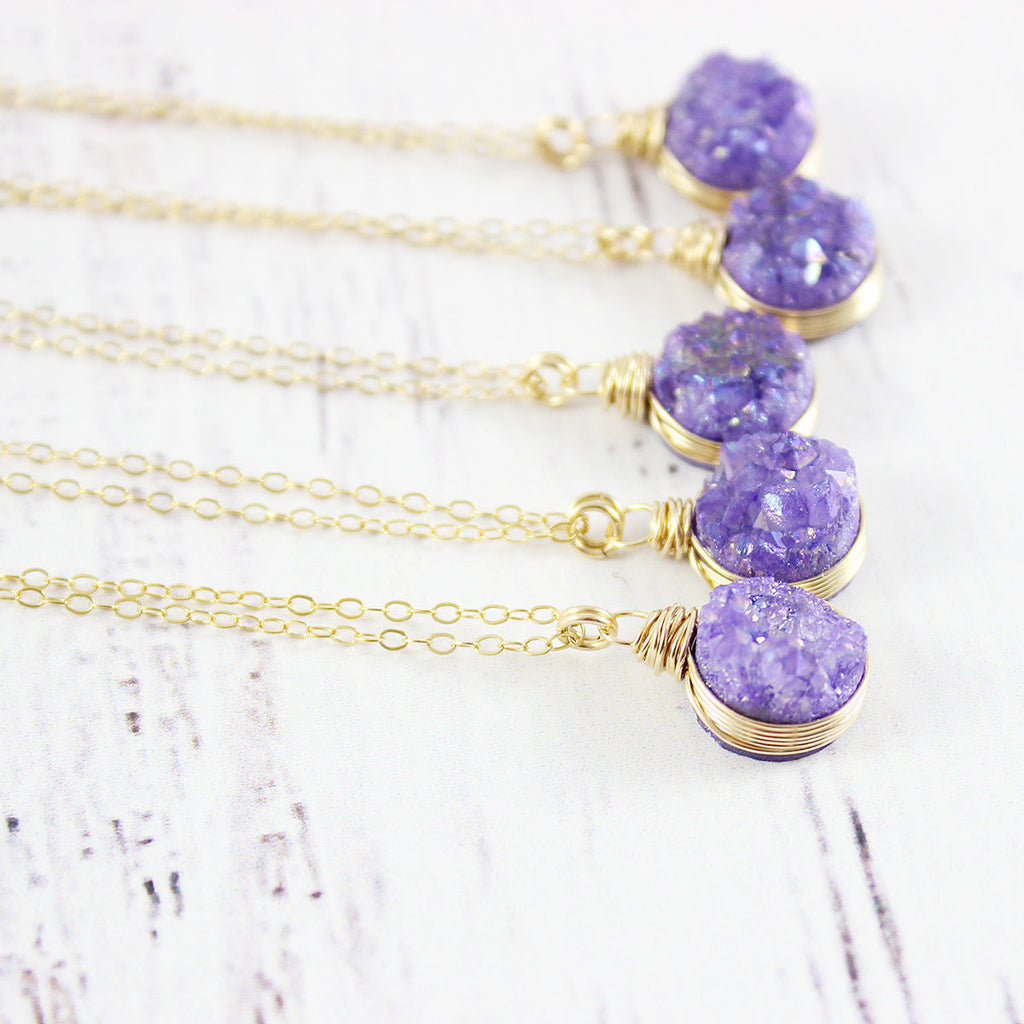 Purple Druzy Gold Circle Necklace
