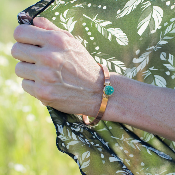 Green Druzy Copper and Gold Cuff Bracelet
