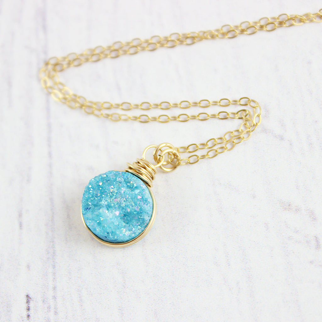 Sky Blue Druzy Gold Circle Necklace