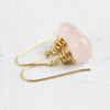 Pink Rose Quartz Gold Filled Earrings