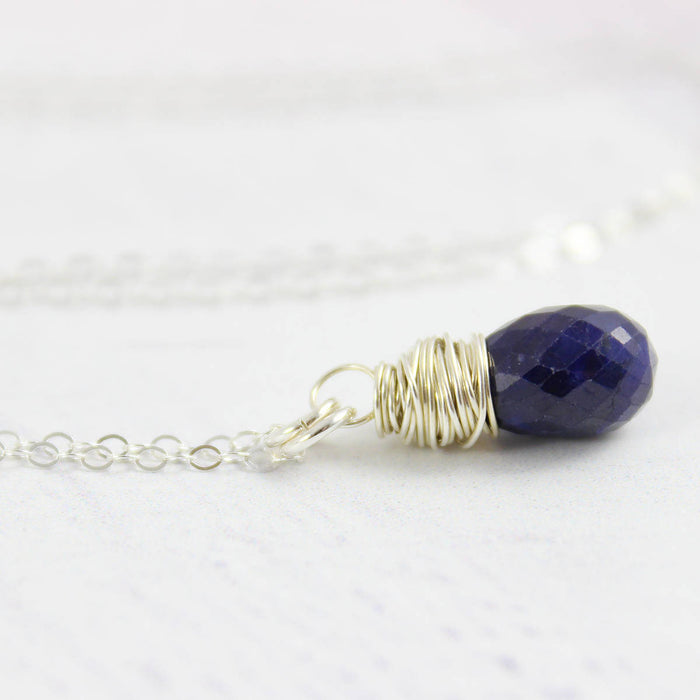 Blue Sapphire Teardrop Sterling Silver Pendant Necklace