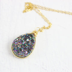 Rainbow Druzy Geode Gold Teardrop Necklace