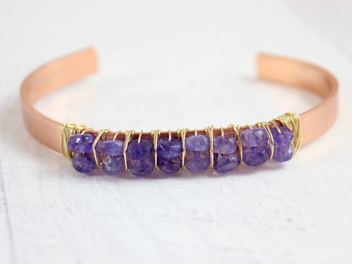 Purple Moonstone Copper & Gold Cuff Bracelet